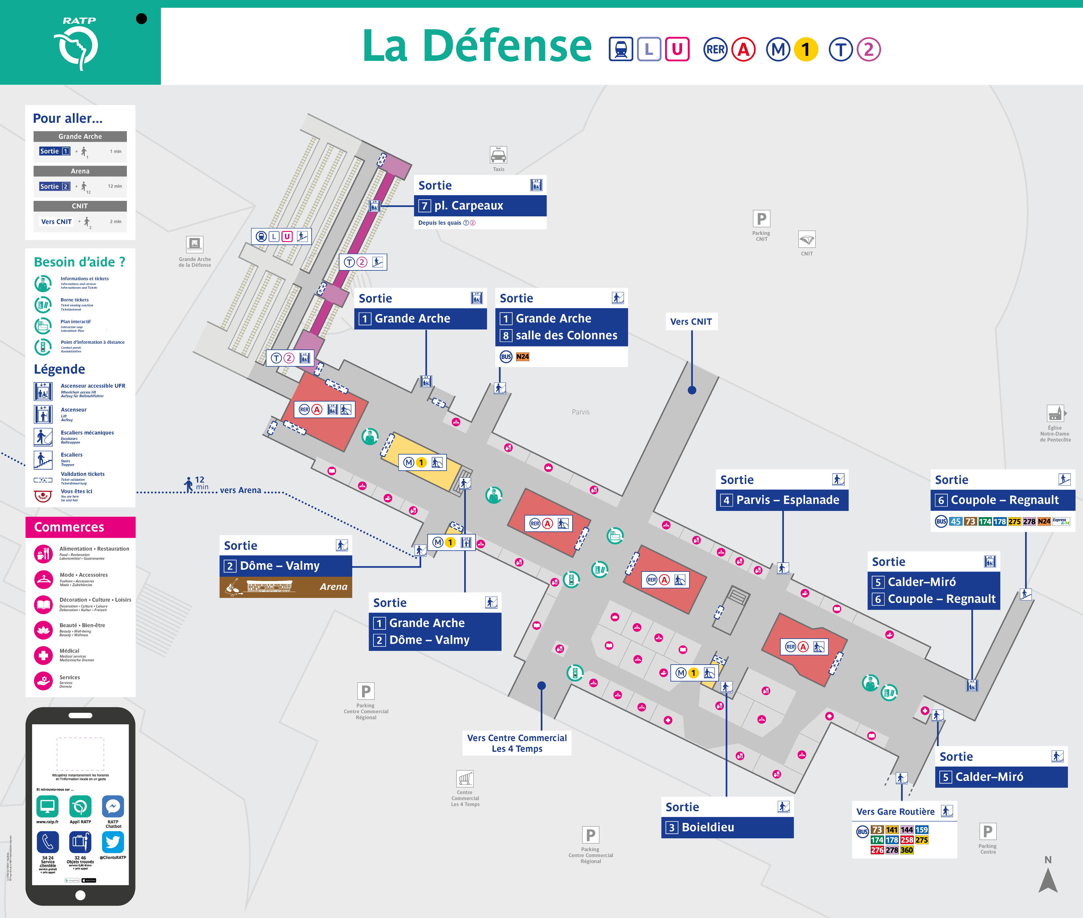 Plan de la station La Defense (Grande Arche)