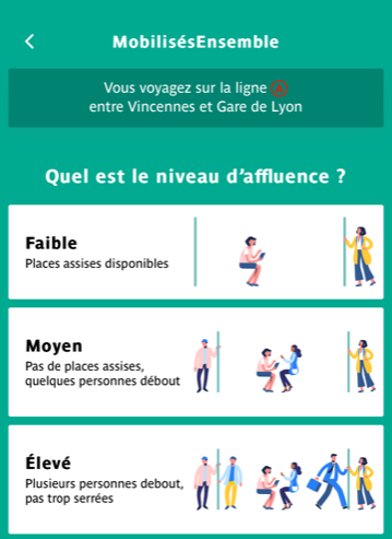 Visuel Affluence Application RATP illustrations