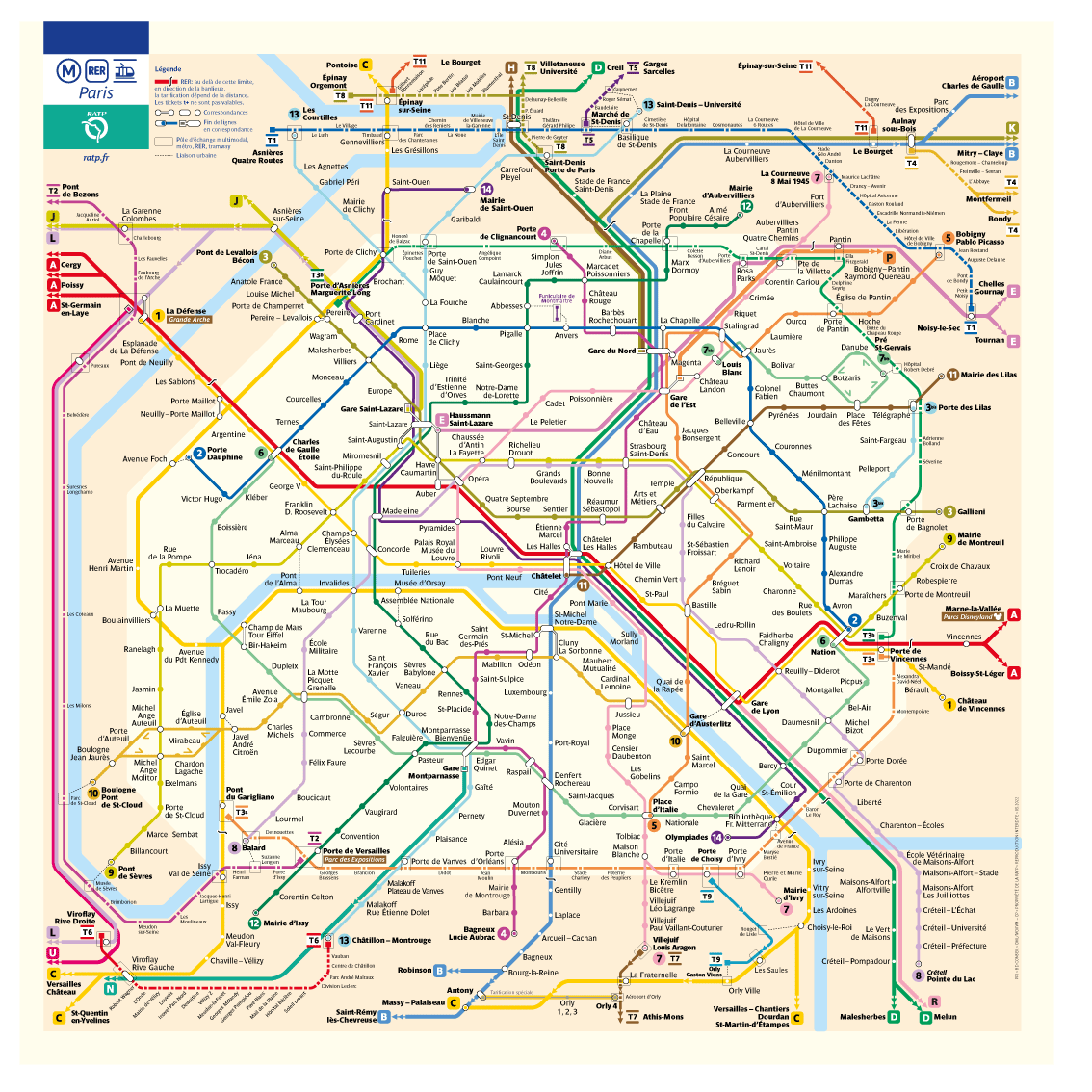 image about Printable Map of Paris named Metro map of Paris and the île-de-France location RATP