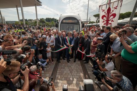 inauguration of Florence tram extension
